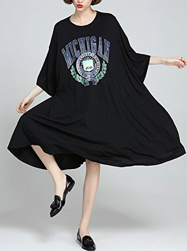 ELLAZHU mujer Loose Vestido de tamaño de impresión grande bat-wings ga273 Negro