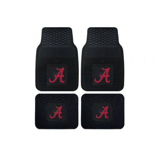 Officially Licensed NCAA Set of Universal Fit Front and Rear Rubber Automotive Floor Mats - Alabama Crimson Tide