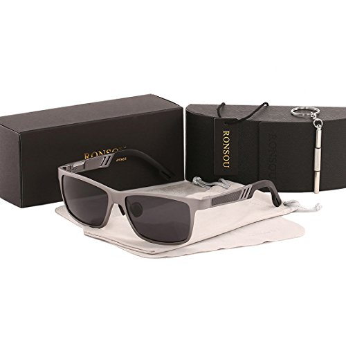 Ronsou Men UV400 Retro Aluminium-Magnesium Polarized Sunglasses For Driving Fishing Golf Outdoor gray frame/gray - Aluminium Sunglasses Frame
