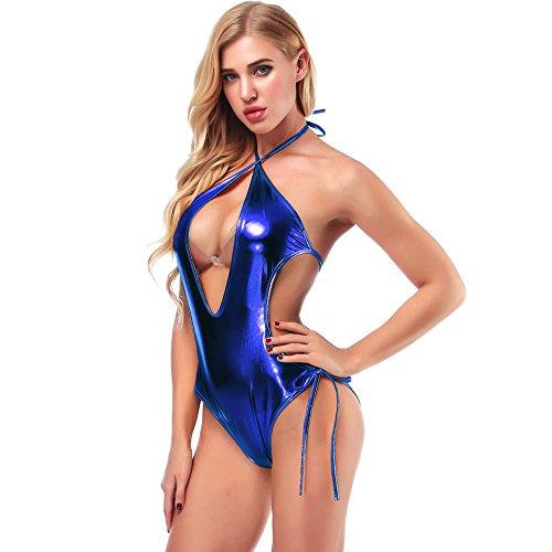 X Shape Bodysuit, Women's Sexy Off Shoulder Backless Straps Wrapped V-Neck Arrow Lingerie Intimate Swimsuit (Blue)