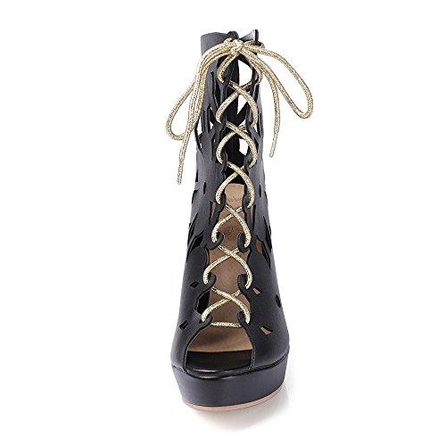 Talon 2 À Aiguille Taoffen Peep Bottines D'été Black Femmes Lacets Gladiateur Chaussures Toe 0RR7Yq
