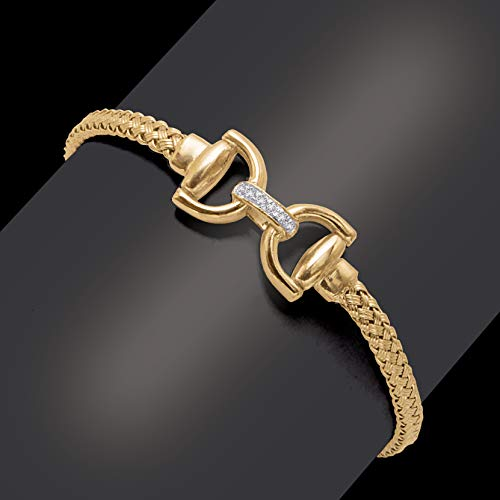 Meshmerise Sterling Silver with 18KT Vermeil .10 CTTW Diamond Horseshoe Weave Bangle ()
