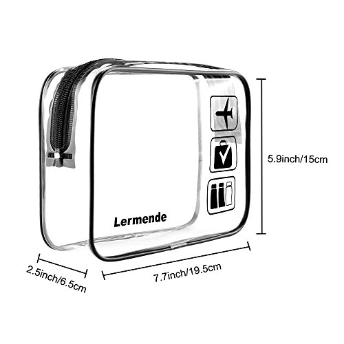 3pcs Lermende TSA Approved Toiletry Bag with Zipper Travel Luggage Pouch Carry On Clear Airport Airline Compliant Bag Travel Cosmetic Makeup Bags - Black by Lermende (Image #1)