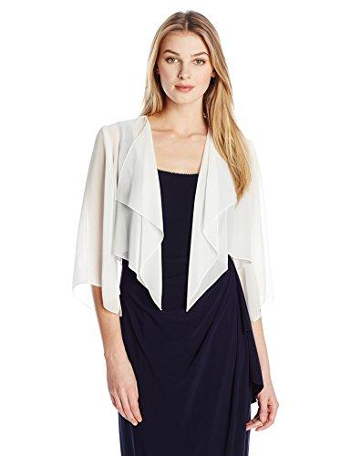 Alex Evening Women's Chiffon Hanky Short Bolero Jacket, Ivory, Small