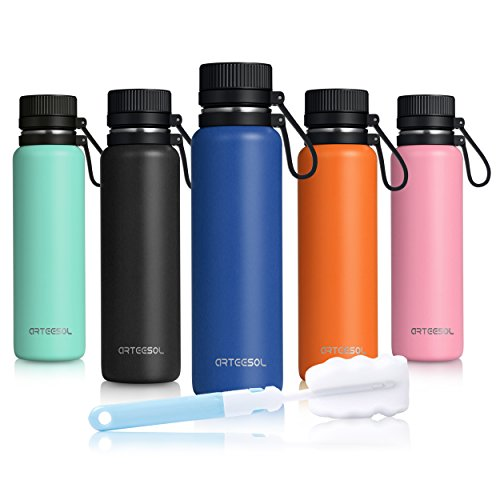 ARTEESOL Water Bottle + Extra Lid Insulated 18/8 Stainless Steel for Outdoor Sports Camping Running Gym Workout Fitness,Cold for 24h Hot for 12h - 2 sizes(25oz/35oz) 3 colors (Dark Blue, 750ML/25OZ)