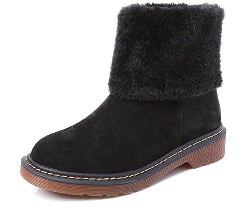 Women's 1 Inside Leather Winter Shoes Wool by JiYe Genuine Boots Black Snow 4Pdn4x