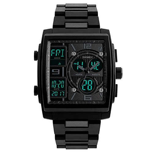 Men's Sport Watch Digital Military Wrist watch Square Analog Quartz Watches Electronic Black - Square Shop To Places In Times