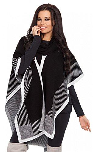 FOBYA - Mujer cárdigan en cascada chal capa poncho bloque de color diseño - 470z Negro