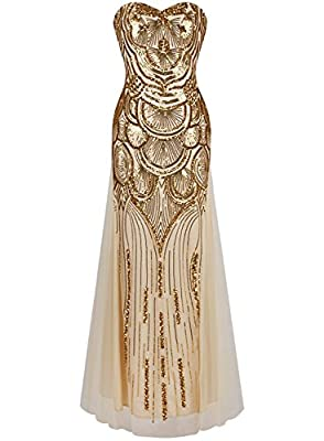 Z&X Women's 1920s Sequin Embellished Strapless Sweetheart Flapper Prom Dress