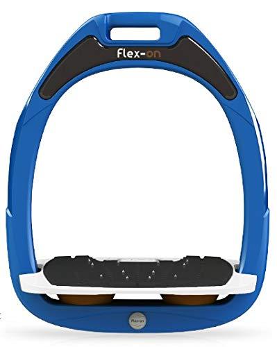 【 限定】フレクソン(Flex-On) 鐙 ガンマセーフオン GAMME SAFE-ON Mixed ultra-grip フレームカラー: ブルー フットベッドカラー: ホワイト エラストマー: ブラウン 09457   B07KMNVZRP