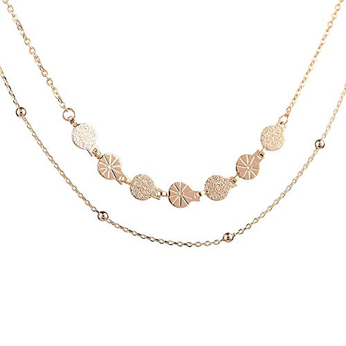Disc Choker Necklace Gifts for Women - 14K Gold Filled Women's Delicate Handmade Disc Choker Necklace, Gold Bead Layered Choker Necklace for Women Girls, Best Girlfriend Gifts Birthday Gifts for Women