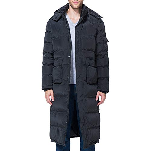 Tapasimme Men's Packaged Down Puffer Jacket with Hooded Compressible Long Coat (Large, Black Long) (Down Men Jacket Large)