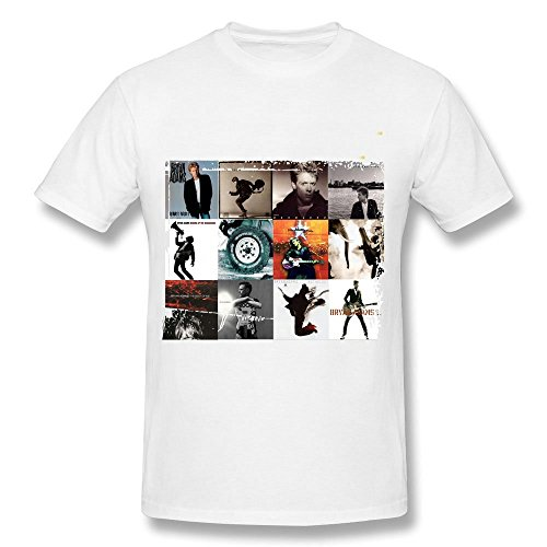 AzonLD Men's Bryan Adams All Albums Print Front Short Sleeve T-shirt