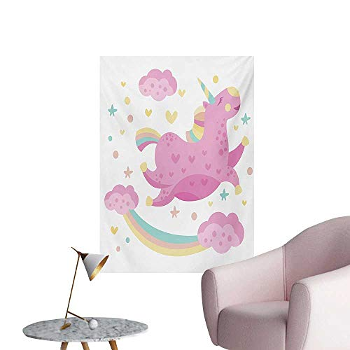 Anzhutwelve Girls Corridor/Indoor/Living Room Chubby Legendary Smiley Unicorn with Star Rainbow Funny Cartoon Kids Room NurseryPink Yellow W24 xL36 Cool Poster