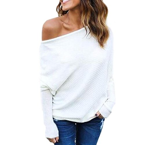 kaifongfu Off Shoulder Tops ,Women Knitted Tops Sexy Loose Batwing Long Sleeve Sweater (L, White) - Quilted Corset