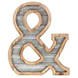 XXL 14'' Galvanized Metal and Wood Industrial Home and Business Wall Letters Ampersand &