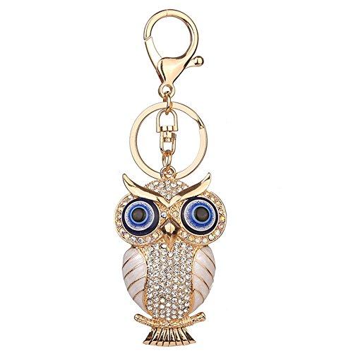 Diamondo Owl Shape Keychains Women Fashion Rhinestone Bag Pendant Car Key Accessories (A) - Clasp Material