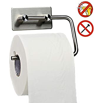 Toilet Paper Holder Self Adhesive - Toilet Paper Roll Holder no Drilling for Bathroom, RV, Boat, Stainless Steel,1 Package