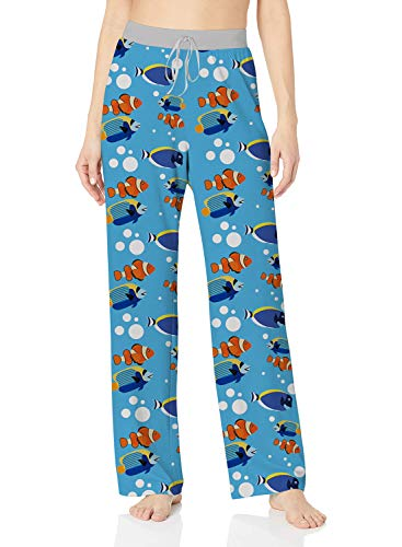 ALISISTER Fish Pajama Pants Womens Novelty Lounge Bottoms Wide Leg Soft Palazzo Sweatpants Long with Elastic Drawstring Home Sleepwear Blue L ()