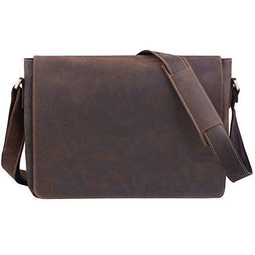 Jack&Chris Leather Men's Laptop Bag Messenger Shoulder Bag, HS14017 ()