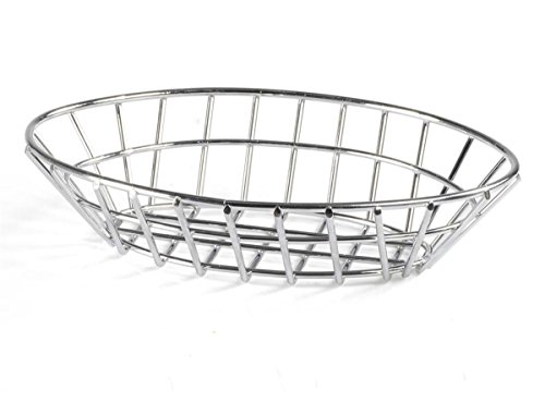 (Displays2go Oval Bread Baskets, Wire Fruit Bowls for Tabletop Presentations, Stainless Steel - Set of)