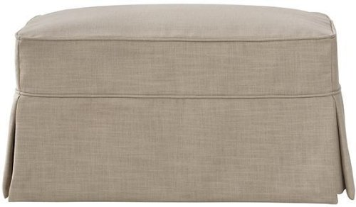"Mayfair Slipcovered Ottoman, 18""Hx33.5""W, LINEN PEARL"