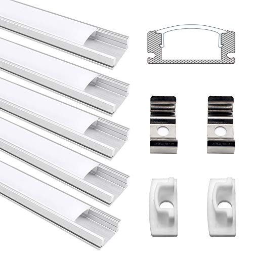 JIRVY 5 Pack 1m / 3.3ft V-Shape LED Aluminum Channel Profile for Flex/Hard LED Strip Lights Installation with White Diffuser Cover, End Caps and Metal Mounting Clips