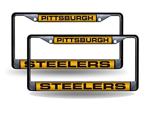 Rico Pittsburgh Steelers Black Metal (2) Laser License Plate Frame Set