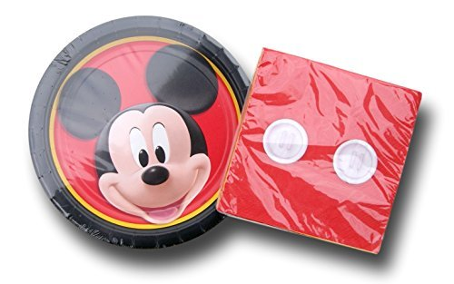 Disney Party Supplies (Classic Mickey Mouse Birthday Party Supply Kit - Plates and Napkins by Disney)