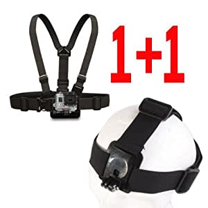 Signpost Adjustable Head Strap Mount & Chest Belt Strap Mount for Gopro HD Hero Hero 2 Hero 3 Cameras Black