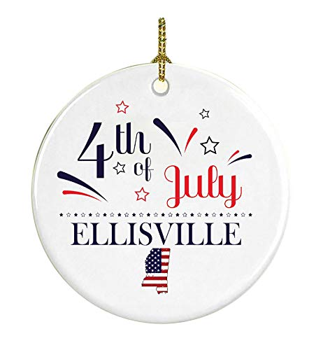 (Patriotic Heart Ornament 4Th Of July Decorations For The Home Ellisville Mississippi Independence Day Decorations Declaration of Independence America Pride Ceramic 3 inches)