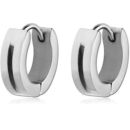 Unique Black Silver Huggie Earrings