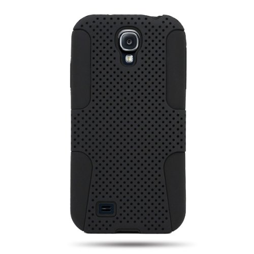 Samsung Galaxy S4 Case [CoverON Mesh Hybrid Series] Protective Armor Dual Layer Phone Cover Case for Samsung Galaxy S4 - Black & Black