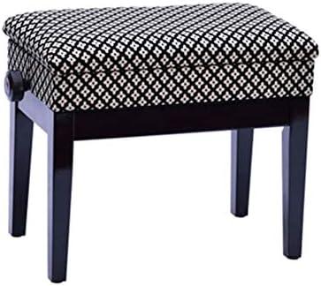 ピアノスツール シングル亜麻布ピアノスツールリフティングピアノスツール付き本棚 ピアノ キーボード 椅子 (Color : Black, Size : 58x35x55cm)