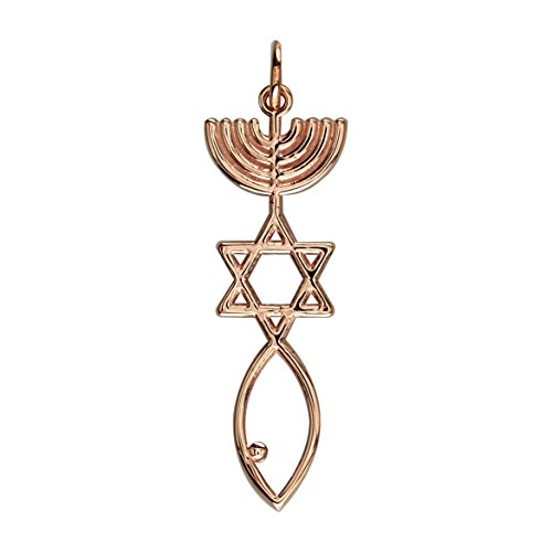 Messianic Seal Jewelry Charm in 14K Pink Gold