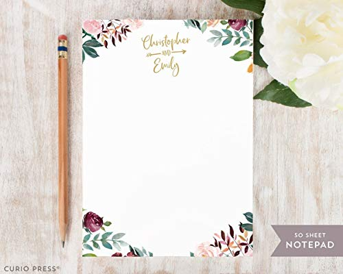 DIVINE COUPLES ARROW NOTEPAD - Personalized Stationery/Stationary Wedding Note Pad
