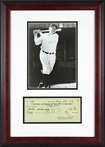 - Yankees Babe Ruth Signed & Framed 3.25x7.75 Check Dated August 1938 JSA #Z76309