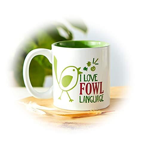 Studio M Bird Nerd Fowl Language Large Ceramic Stoneware Coffee Mug, Cute Trendy Funny Whimsical, 16 oz ()