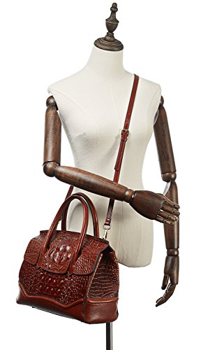 PIFUREN Crocodile Handbag Genuine Cow Leather Shoulder Top Handle Bag M1105 (One Size, Brown) by PIFUREN (Image #2)