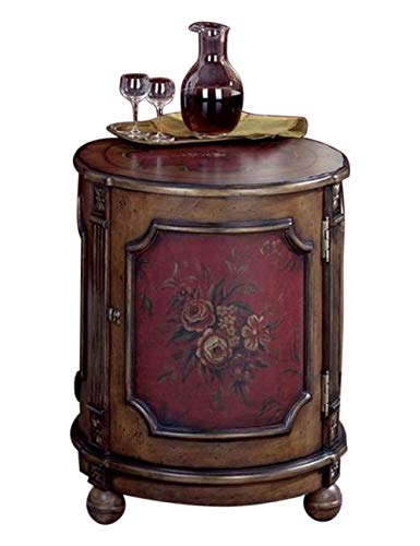 - Home Decorative Hardwood Red Hand Painted Floral Design Light Drum Table with Storage