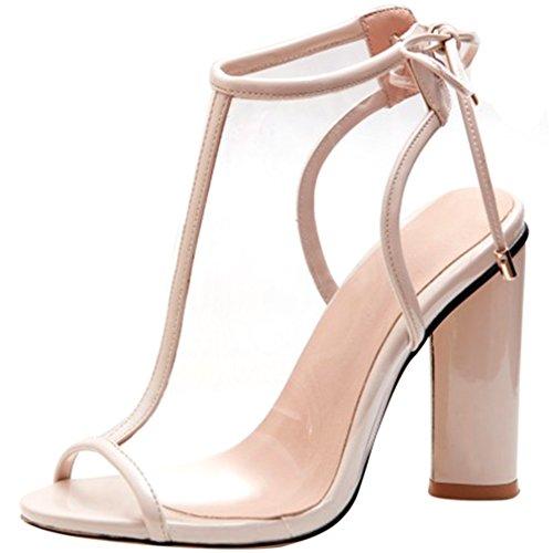 ENMAYER Frauen PVC Material High Heels Pumps Peep Toe Fesselriemen Slingpumps Schuhe Aprikose