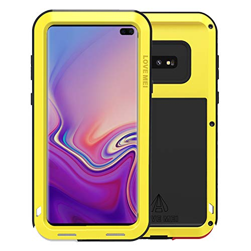 Simicoo Samsung S10 Plus Aluminum Alloy Metal Bumper Silicone case Hybrid Military Shockproof Heavy Duty Armor Defender Tough Hard Built-in Gorilla Glass Cover for Samsung S10 Plus (Yellow, S10 Plus) (Aluminum Hybrid Silicone)