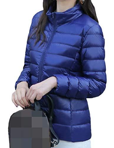 Xinheo Oversize Blu Con Giù Tasca Collare Il Zip Leggero Blu Donne Alzarsi Breve Cappotto XqOwdX