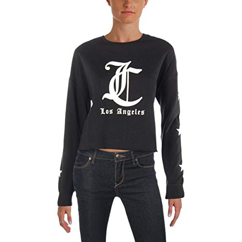 Juicy Couture Juicy Womens Graphic Logo Pullover Top Black M
