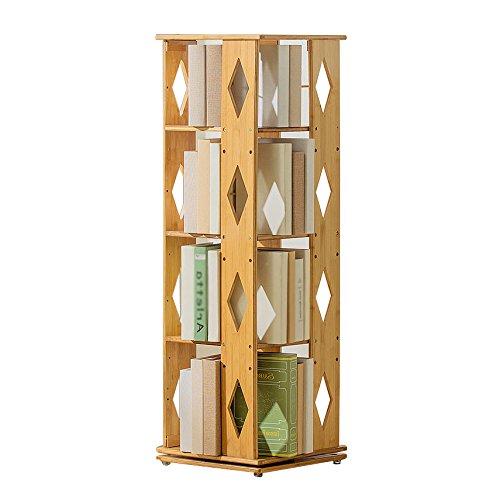 本棚360°回転床竹製木製オーガナイザー現代シンプル3/4アップライト本棚 (色 : Diamond, サイズ さいず : 4 layers) B07JYYQFVS Diamond 4 layers