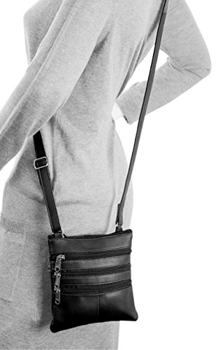 Bag Crossbody Blocking Genuine Blocking RFID Leather RFID Black AfqAX1wYx