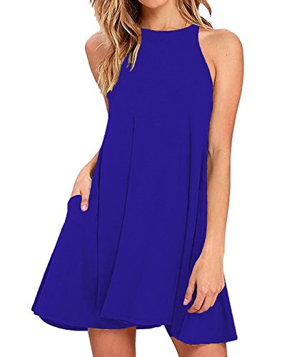 Sarin Mathews Women's Halter Neck Sleeveless Casual Swing T-Shirt Loose Dress RoyalBlue (Blue Juniors Dress)