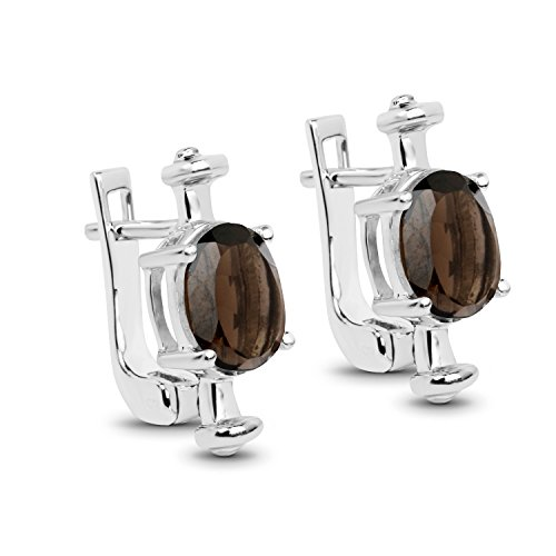 3.52 Carat Genuine Smoky Quartz .925 Sterling Silver Earrings