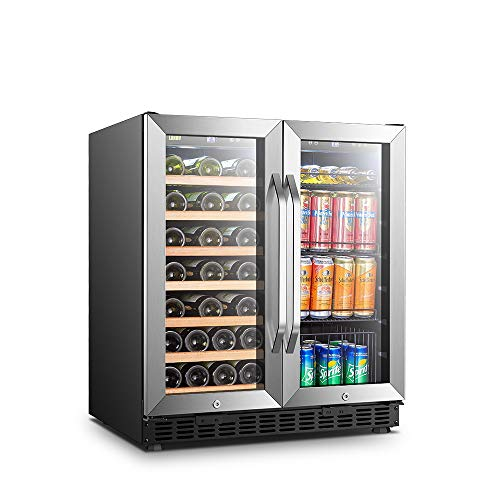 Lanbo Wine and Beverage Cooler, Compressor Under Counter Wine Cellar and Beverage Fridge, 33 Bottle and 70 Can