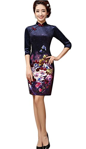 EXCELLANYARD Velvet Chinese Qipao Cheongsam Dresses For Women 4 Navy (Traditional Dress Chinese)